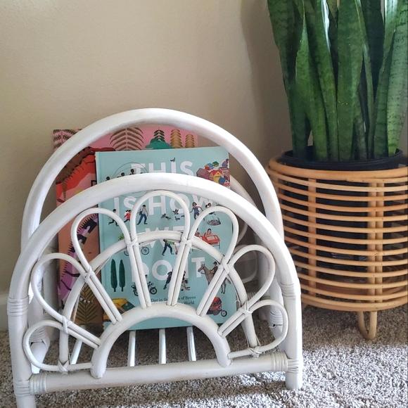 Vintage Rattan Boho White Basket